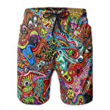 confirm vt Mens Quick Dry Beach Shorts Psychedelic Monster Floral Boardshorts Swim Surf Trunks