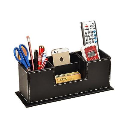 Superbe Figella Double Square Leather Pen Pencils Mobile Phone Holder Desk  Organizer Desktop Table Set Office Accessories