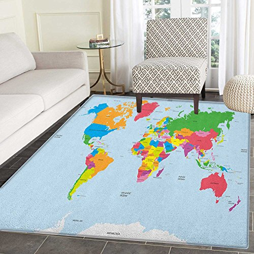 Map Area Rug Carpet Classical Colorful Map of World in Political Style Travel Europe America Asia Africa Customize door mats for home Mat 4'x6' Multicolor by smallbeefly