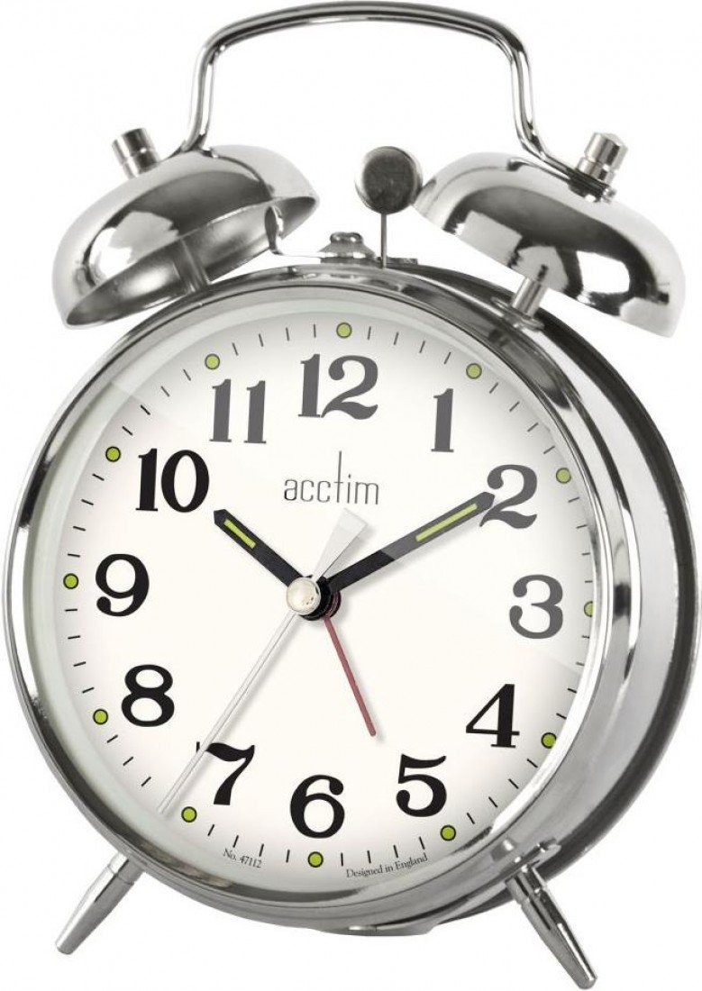 Acctim Selworth Classic Wind Up Twin Bell Bedside Alarm Clock | Chrome Metal by Acctim