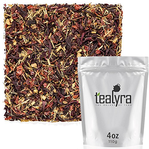 Tealyra - Caribbean Punch - Hibiscus - Lemongrass - Rosehips - Herbal Fruity Karkade Loose Leaf Tea - Vitamines Rich - Hot and Iced tea - Caffeine-Free - 110g (4-ounce)