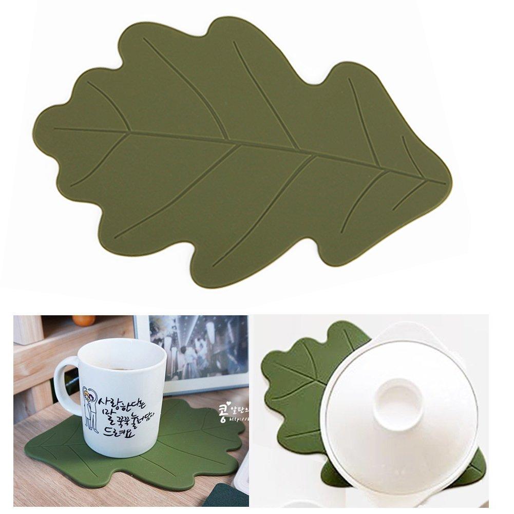 Silicone Trivet Mat Hot Pad Multi-purpose Kitchen Tool Hot Pan Coaster Decorative Spoon Rest (Oak) by Dailylike