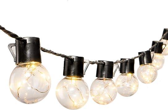 Guirnalda de luces LED irrompibles de 17 pies para patio al aire libre con 20 bombillas LED transparentes, cadena de luces para colgar en interiores para patio trasero, balcón, cafetería, pérgola, decoración