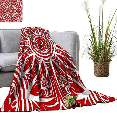 Wenhang home Plush Throw Blanket,Mandala Style Vector Color Shapes Abstract Design Decoration,Blanket for Sofa Couch TV Bed All Season 70