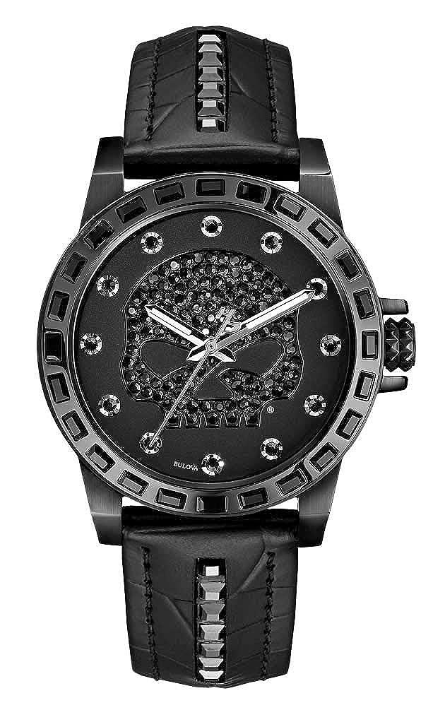 Harley-Davidson Women s Willie G Skull Crystal Watch, Studs Leather Strap 78L126