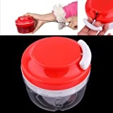 Preup Kitchen Food Chopper Manual HandHeld Chopper/Dicer/Slicer/Meat Cutter/Mixer/Blender/Salad Crusher Gadget with Container Red