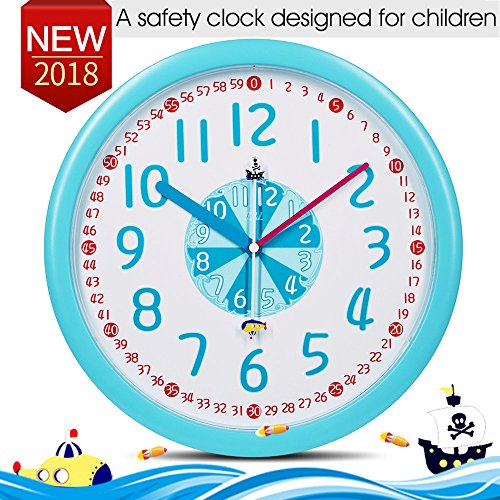 "Kid Wall Clock Baby Nursery Wall Clock In Kid Bedroom Silent Non-ticking Clock-Cute Pirate ship Submarine Themes, 12"" Easy Read Learn Time Teacher Children Colorful Analog Wall Clock For Boy Girl Blue"
