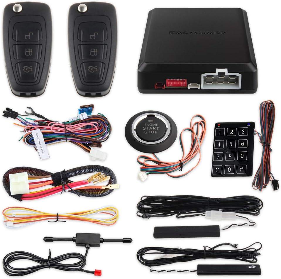 EASYGUARD EC003N-K-1 PKE Car Alarm System Proximity Lock Unlock Push Button Start Remote Engine Start Keyless Go System DC12V