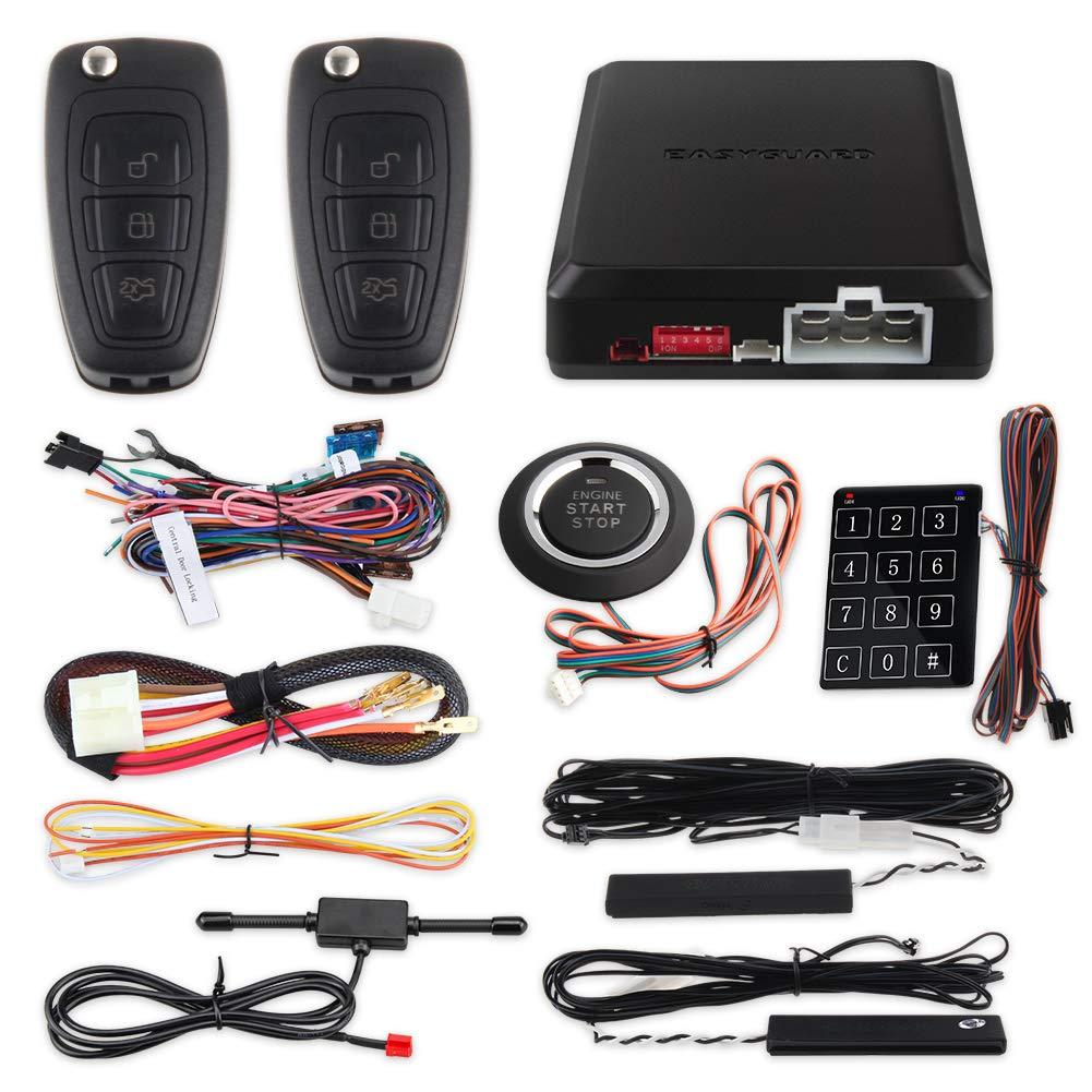 EASYGUARD EC002-FO Hopping Code Intelligent PKE RFID car Alarm System Push Engine Start Stop Button auto Lock Unlock car Door Remote Engine Starter Touch Password Entry by EASYGUARD