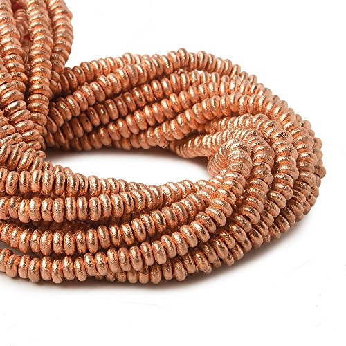 2.5mm Copper Brushed Disc Rondelle Beads 144 Beads 8 -