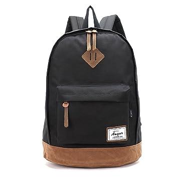 Black AOKE Vintage Laptop Backpack Shoulder Book Bags For College School Fits 156quot