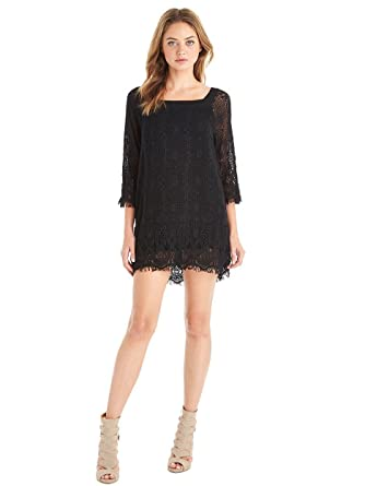 915b7f02104 Gypsy05 Women s Jacinta Crocket 3 4 Sleeve Mini Dress Black (Medium ...