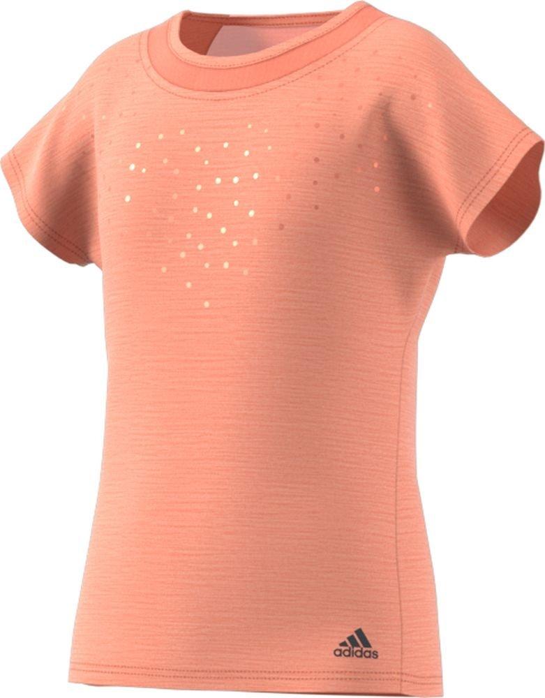 adidas Girl's Girls Tennis Dotty Tee, Chalk Coral, X-Large