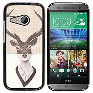 For HTC ONE MINI 2 / M8 MINI - Cool Vintage Deer Antlers Woman /Modelo de la piel protectora de la cubierta del caso/ - Super Marley Shop -