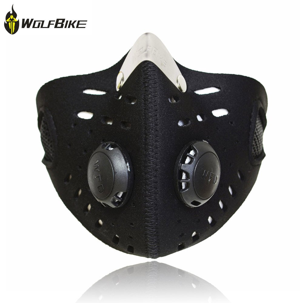 Wolfbike Super Anti-Pollution Motorcycle Bicycle Cycling Racing Mask Carbon Cloth Bike Ski Half Face Mask Filter City Style. Multiple Colors Available: Colorful, Green, Black (BLACK-B)