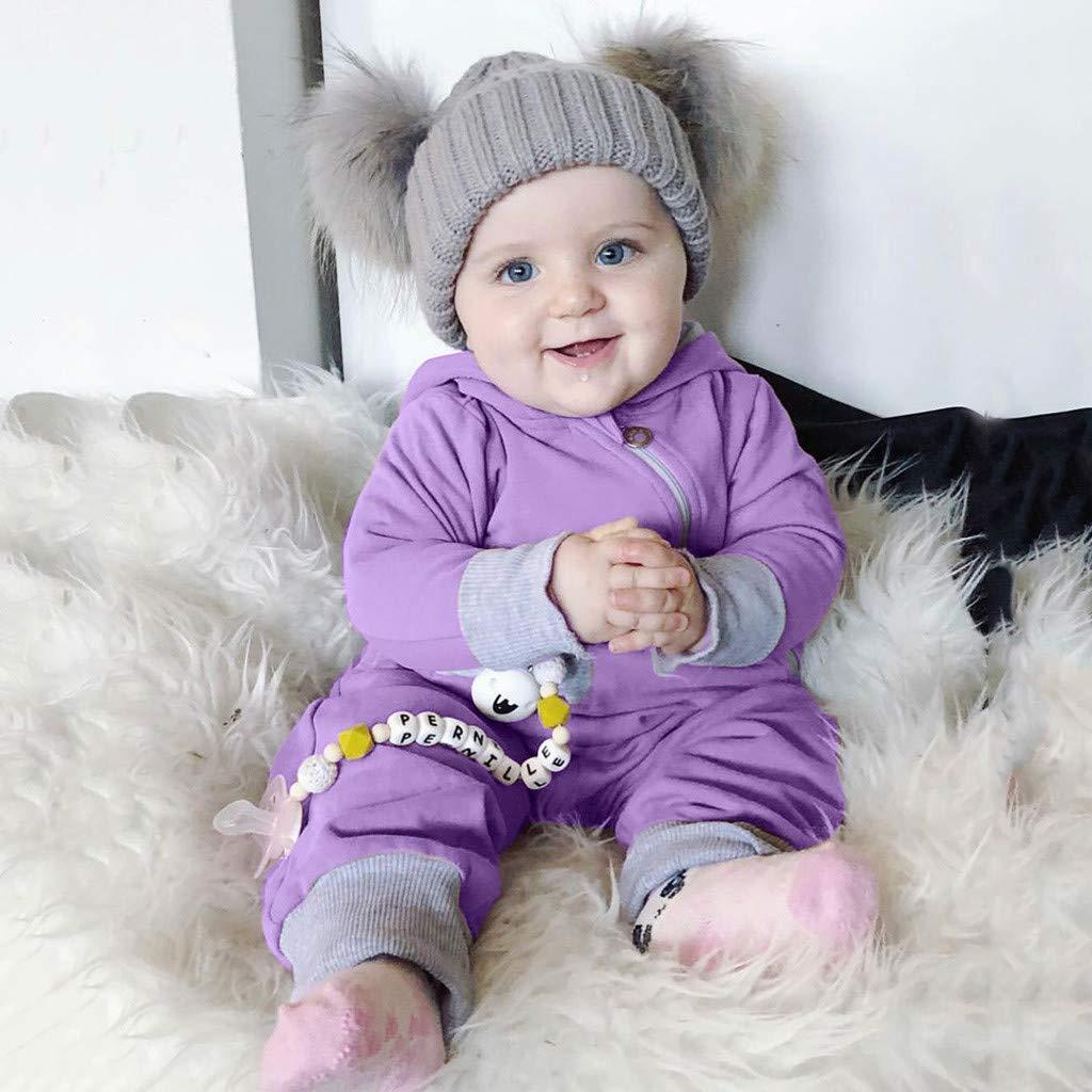 SUNBIBE Newborn Baby Girls Boys Outfits Zipper Hoodie Tracksuit Pocket Tops Pants Set