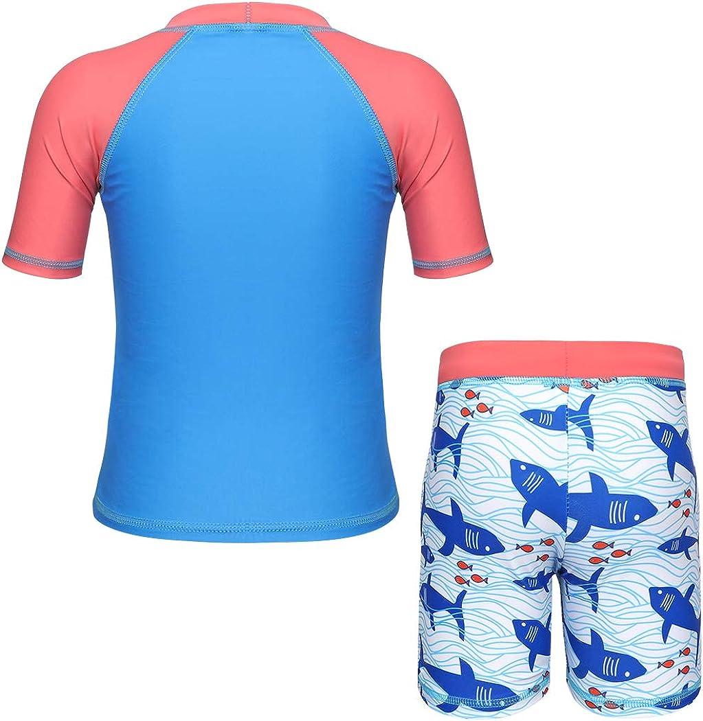 HenzWorld Boys Rash Guard UPF 50 Sun Protection Set Dinosaur Shark Swimsuit with Swimwear Cap