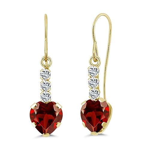 Gem Stone King 2.04 Ct Heart Shape Red Garnet White Topaz 14K Yellow Gold Earrings