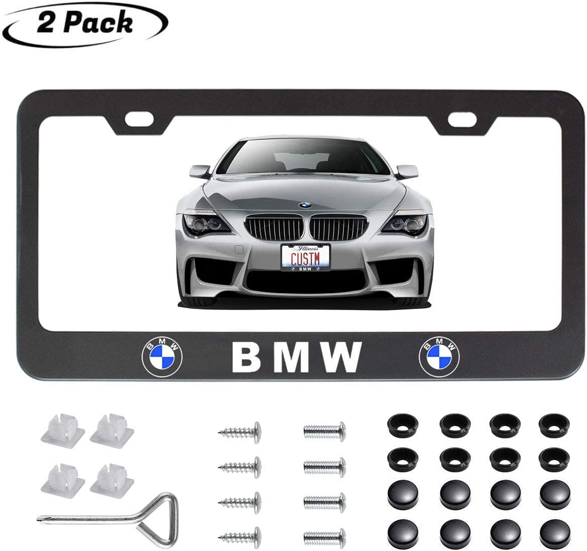 Goodcover 2Pcs BMW Logo License Plate Cover,Stainless Steel License Plate Frame for BMW