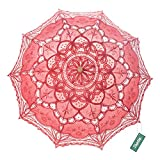 TopTie Wedding Lace Parasol Umbrella Victorian Lady Costume Accessory Photo Prop-Red-60 PCS