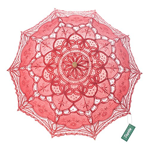 TopTie Wedding Lace Parasol Umbrella Victorian Lady Costume Accessory Photo Prop-Red-60 PCS by TopTie