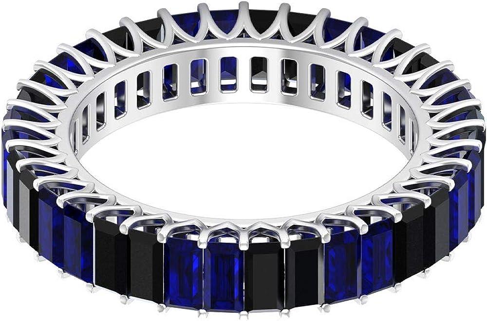 Anillo de boda alterna, 2,8 ct 2 x 4 mm, anillo de zafiro azul, anillo de espinela negra baguette de 2 quilates, anillo de eternidad completo, 18K Oro