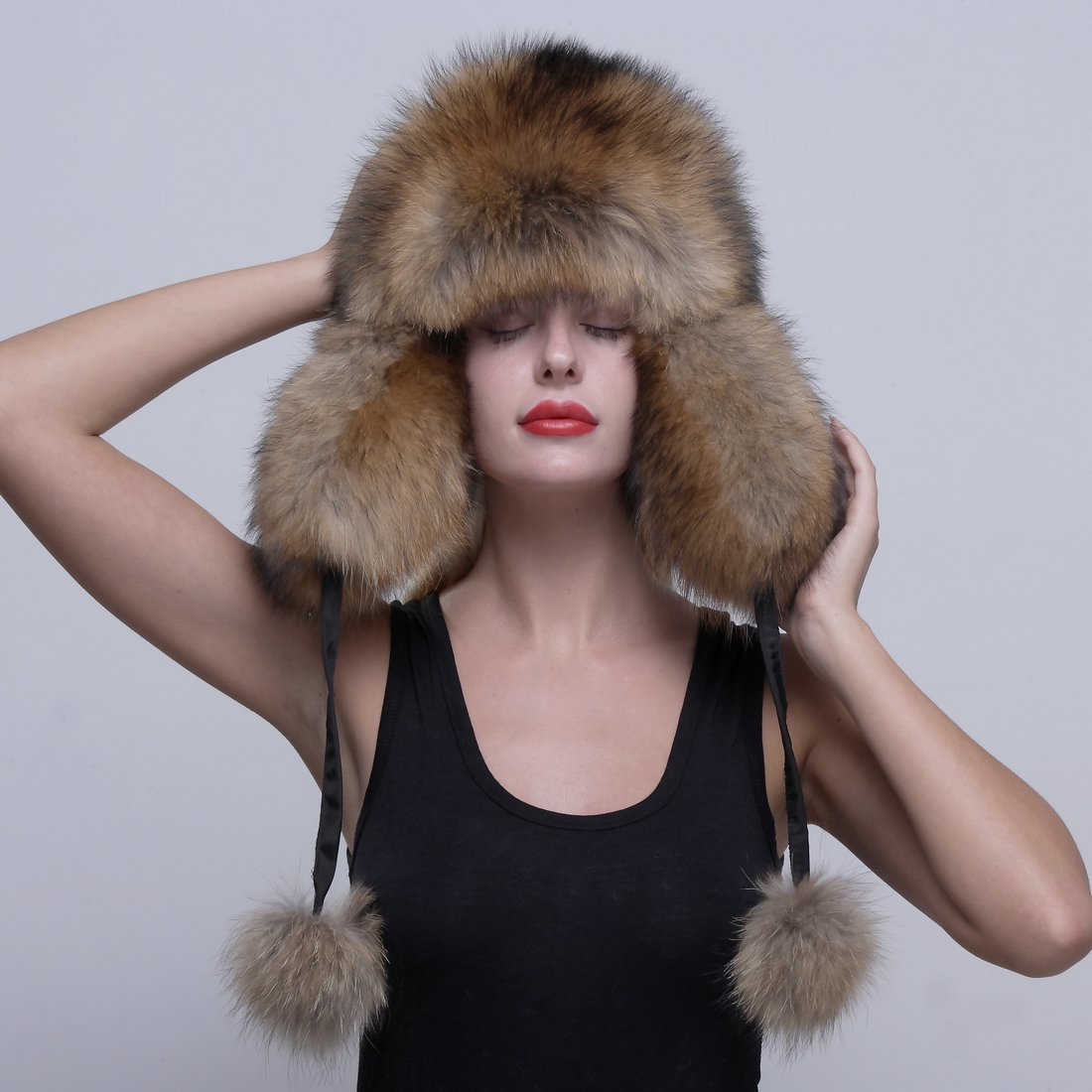 URSFUR Genuine Raccoon Fur Russian Ushanka Trapper Hat Cap with Fur Ball Pompom