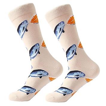 FHCGWZ 5 unids/Set Calcetines de los Hombres de algodón Peinado de Dibujos Animados tiburón de Ave Animal Cebra maíz sandía mar Comida Novedad geométrica ...