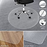 Office Marshal Chair Mat for Carpet Floors, Low/Medium Pile - Round 48'' Multiple Sizes - 100% Pure Polycarbonate, No-Recycling Material - Transparent, High Impact Strength