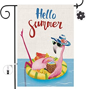 Bonsai Tree Summer Garden Flag Double Sided, Pink Flamingo Hello Summer Vertical Burlap Yard Flags 12 x 18 Prime, Pineapple Lemon Home Lawn Pool Decorations Outdoor