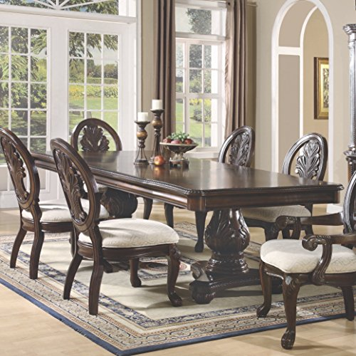 Traditional Dining Table Set - Tabitha Rectangular Double Pedestal Dining Table Dark Cherry
