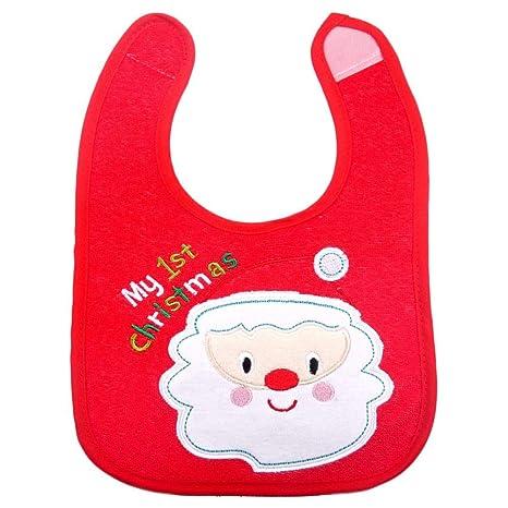 Babero de Navidad para bebés, Toalla bordada de moda de saliva, Babero impermeable para