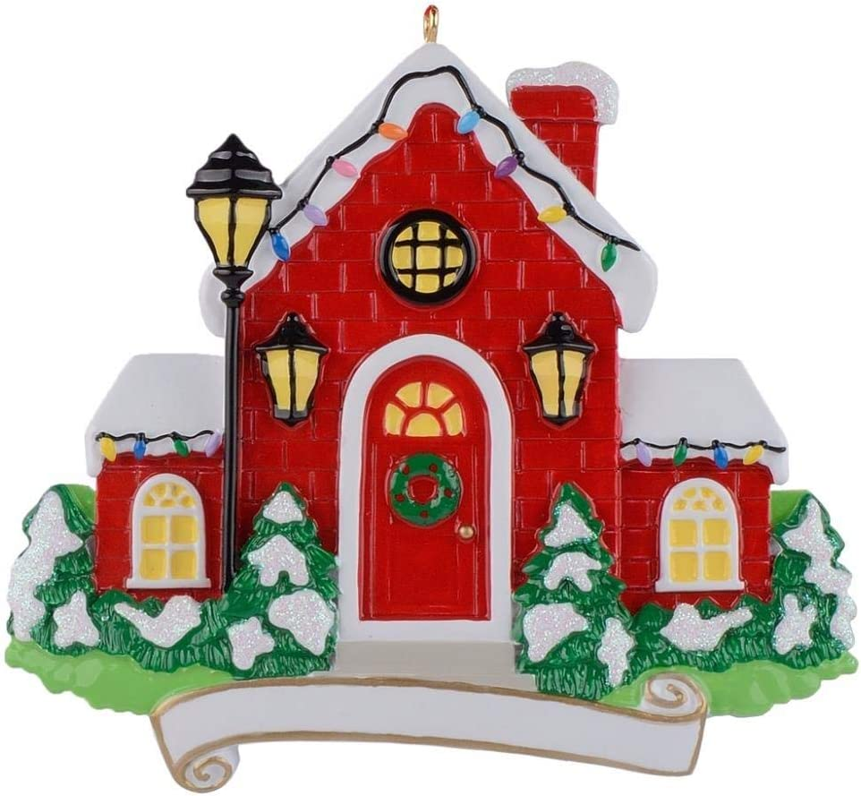 MAXORA Christmas Red House Personalized Ornaments for New Home Celebration, Holiday Party Decorations, New Year,Christmas Tree Decoration