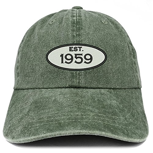Trendy Apparel Shop Established 1959 Embroidered 60th Birthday Gift Pigment Dyed Washed Cotton Cap - Dark Green