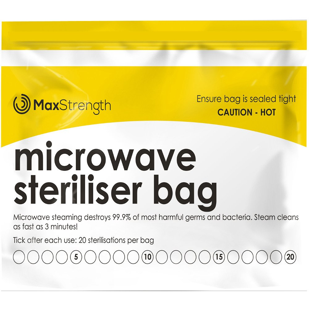 Premium Microwave Sterilizer Bags (20pcs) by Max Strength, Large & Durable Steam Bags for Baby Bottles, Soothers, Teethers & Training Cups, 20 Uses per Bag & Marking System by Max Strength