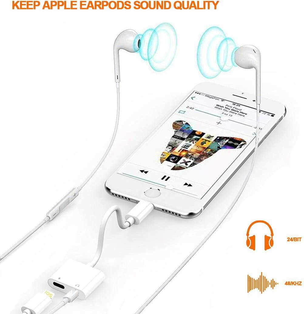 Headphones Adapter Dongle Car Charger Aux Cord Aux Cable Headphone Jack Adapter Connector Music and Charging line Converter Support for All iOS System for iPhone 11//XR//8//8Plus//7//7Plus//X//XS-White