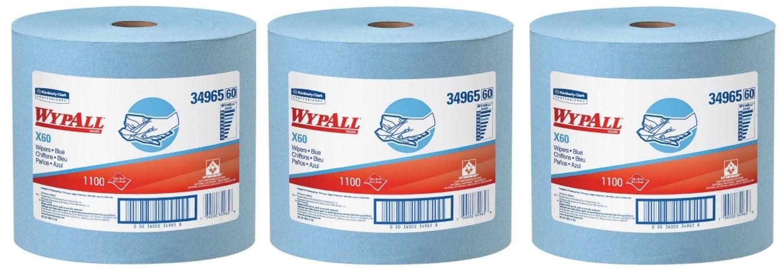Wypall 34965 x60ワイパー、ジャンボロール、12 1 / 2 x 13 2 / 5、ブルー、1100 Sheets per Roll、1ロール 3 Rolls B076ZM7VP9  3 Rolls