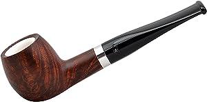Gasparini Orange Straight Apple Briar Brown Meerschaum Lined Tobacco Smoking Pipe