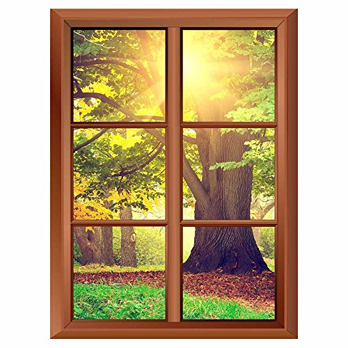 Removable Wall Sticker Wall Mural Beautiful Giant Tree in the Park Creative Window View Vinyl Sticker