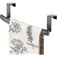 mDesign Tea Towel Holder — Over Door Towel Rail with No Drilling Required — Kitchen Towel Rail — Ideal for Kitchens & Bathrooms — Graphite