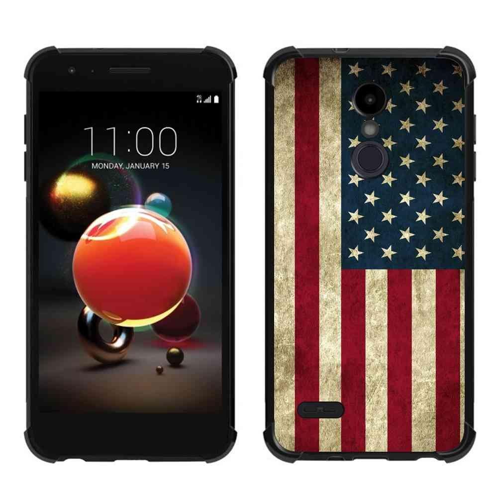 LG K30 Case, LG Phoenix Plus Case, LG K10 2018 Case, LG Premier Pro Us Grunge Flag Case, ABLOOMBOX Slim Bumper Rubber Protective Case with Reinforced Corners