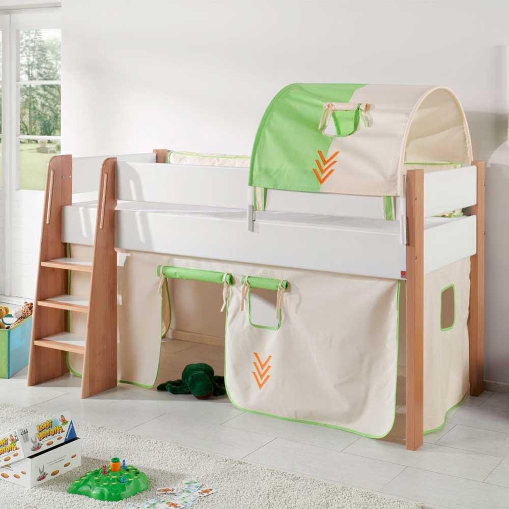 Pharao24 Indianer Kinderbett mit Vorhang und Tunnel halbhoch