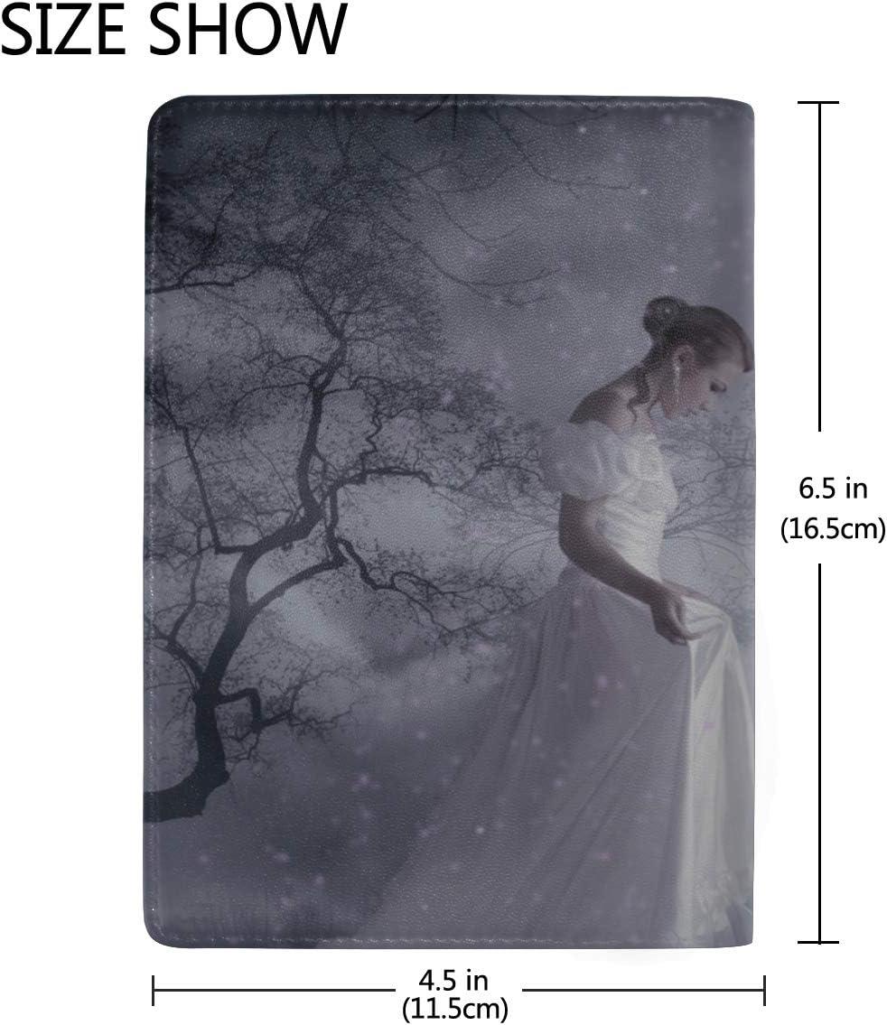 Girl Dress Forest Walk Fog Leather Passport Holder Cover Case Travel One Pocket