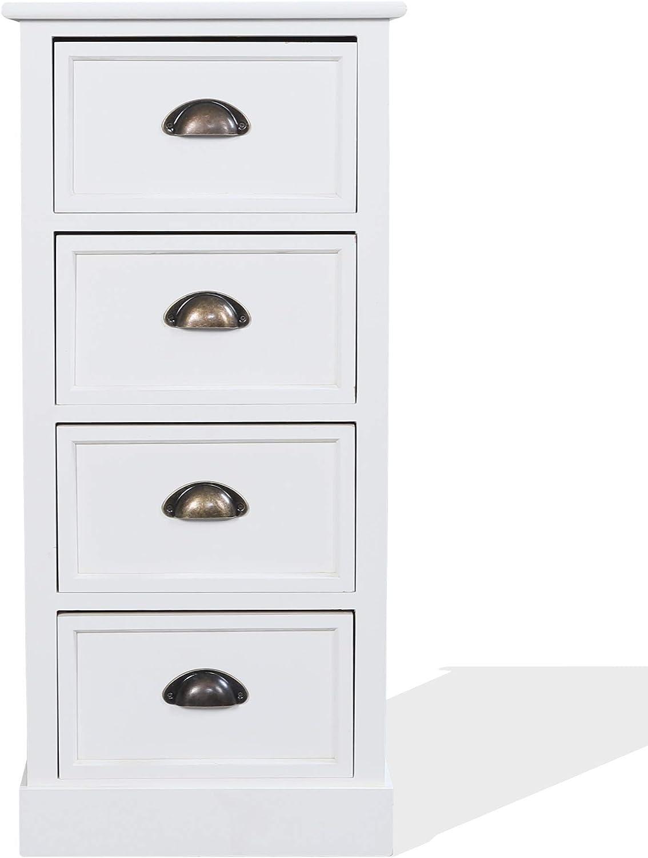 Blanc//Gris Style Contemporain pour Chambre /à Coucher 83 x 56 x 29 cm Rebecca Mobili RE4324 Commode pour Chambre /à Coucher en Bois de Paulownia Salle de Bain entr/ée avec 5 tiroirs