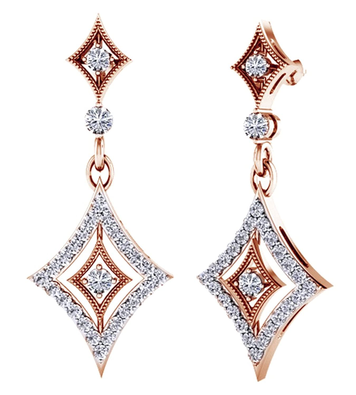 Amazon Round Cut White Natural Diamond Rhombus Drop Earrings In