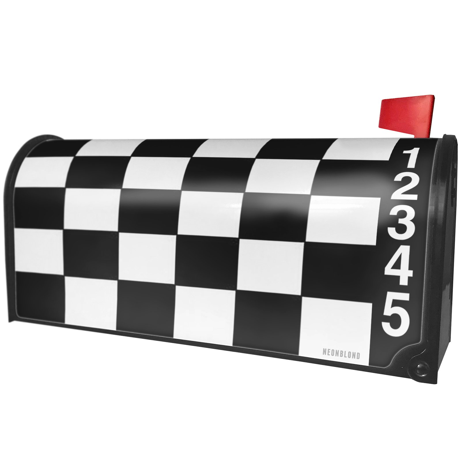 NEONBLOND Race Checker Flag Magnetic Mailbox Cover Custom Numbers