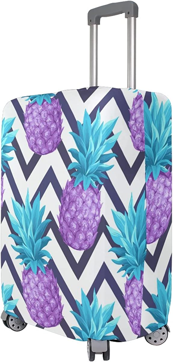 Elastic Travel Luggage Cover Tropical Pineapples Suitcase Protector for 18-20 Inch Luggage