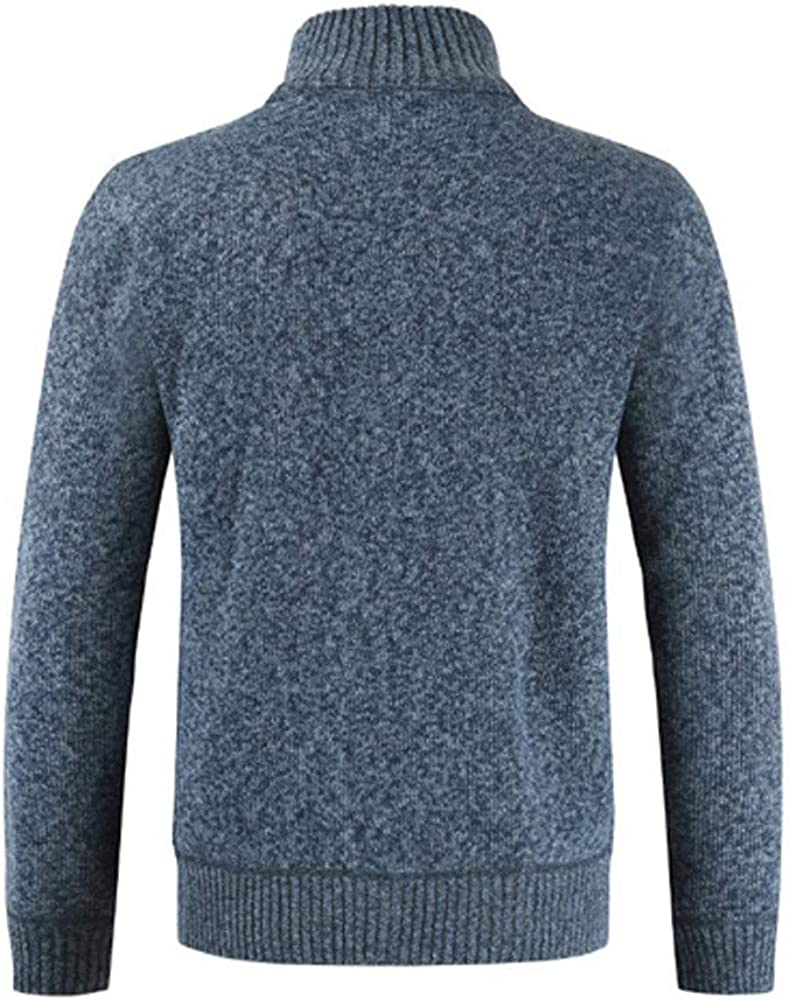 KiyomiQvQ Mens Knitted Cardigan Thick Sweater Full Zip Stand Collar Warm Jumper Fleece Lined Winter Coat High Roll Neck Cotton Knitted Sweatshirt Man Autumn Winter Pure Colour Warm Basic Shirts