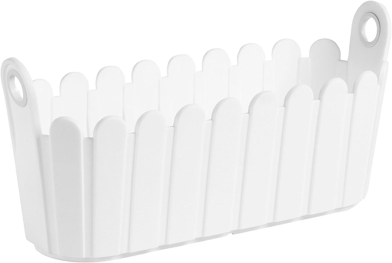 Emsa Landhaus - Jardinera, 39 x 15 x 19 cm, Color Blanca