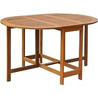 vidaXL Acacia Wood Outdoor Oval Drop Leaf Dining Table Garden Patio Furniture